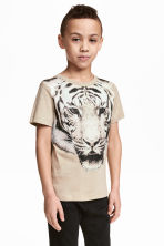 Printed T-shirt - Beige/Tiger -  | H&M 1