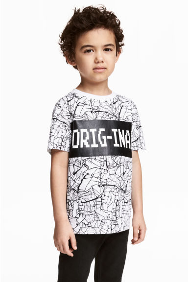 Printed T-shirt - White/Black - Kids | H&M CN 1