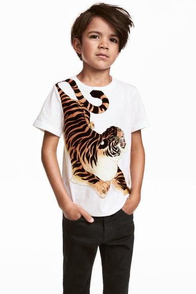 Printed T-shirt - White/Tiger -  | H&M CN 1