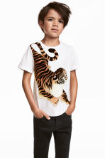 Printed T-shirt - White/Tiger - Kids | H&M CN 1
