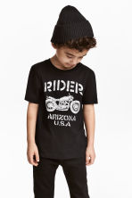 Printed T-shirt - Black/Motorcycle -  | H&M 1