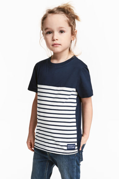 Printed T-shirt - Dark blue/Striped - Kids | H&M