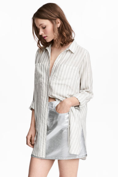 Modal-blend shirt - White/Grey striped - Ladies | H&M CN 1