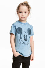 Printed T-shirt - Blue/Mickey Mouse - Kids | H&M 1