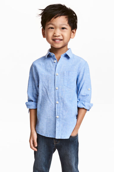 Linen-blend shirt - Blue marl - Kids | H&M CN