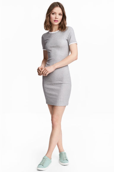 Ribbed jersey dress - Grey marl - Ladies | H&M CN