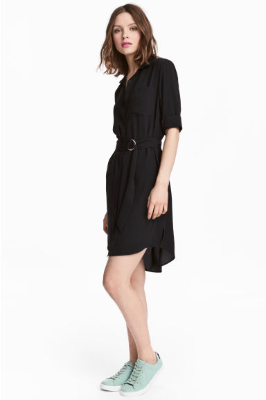 Shirt dress - Black - Ladies | H&M CN 1