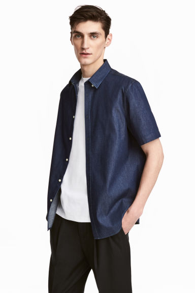 貼身短袖襯衫 - Dark denim blue - Men | H&M 1
