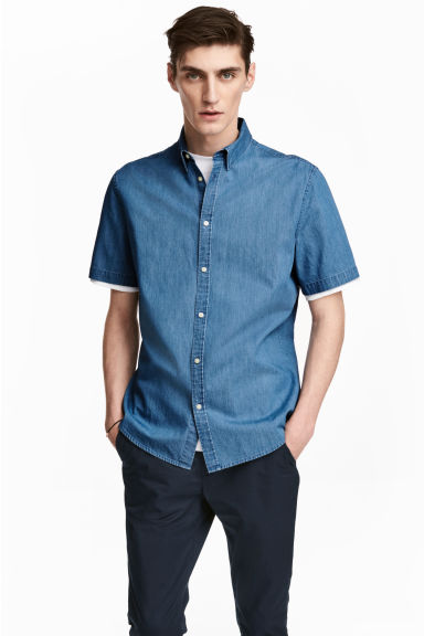Short-sleeved shirt Slim fit - Denim blue - Men | H&M