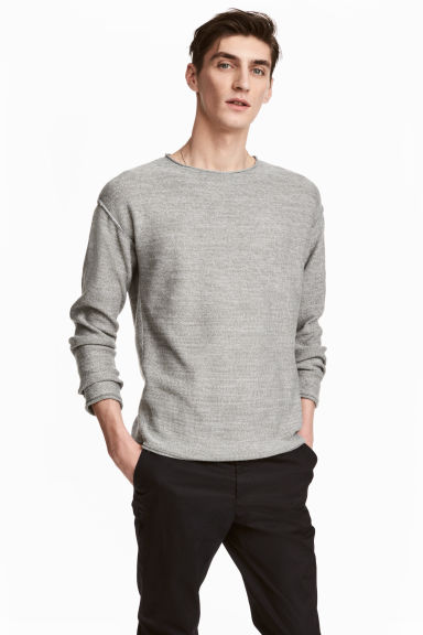 Cotton-blend jumper - Grey marl - Men | H&M