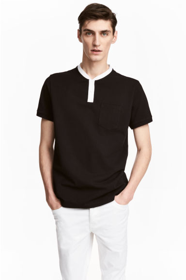 Cotton piqué T-shirt - Black - Men | H&M CN 1