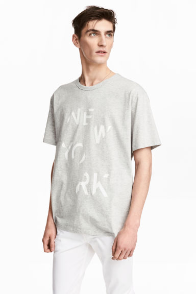 T-shirt con stampa - Grigio mélange/New York - UOMO | H&M IT 1