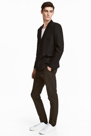 Cotton chinos Slim fit - Dark khaki brown - Men | H&M 1
