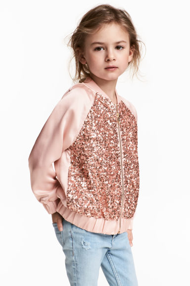Sequined bomber jacket - Powder pink - Kids | H&M CN