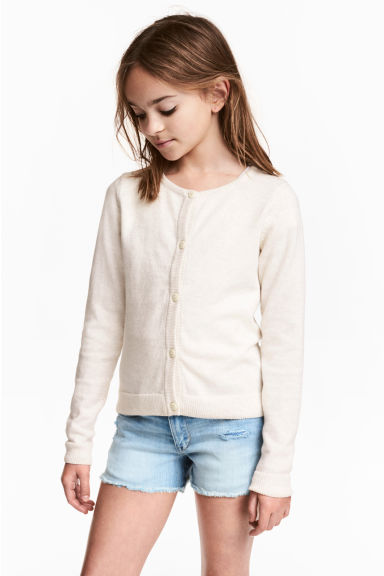 Fine-knit cardigan - Natural white - Kids | H&M