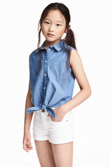 Tie-front blouse - Blue/Chambray -  | H&M 1