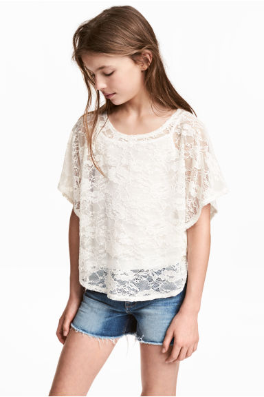 圓邊下襬上衣 - Natural white - Kids | H&M 1