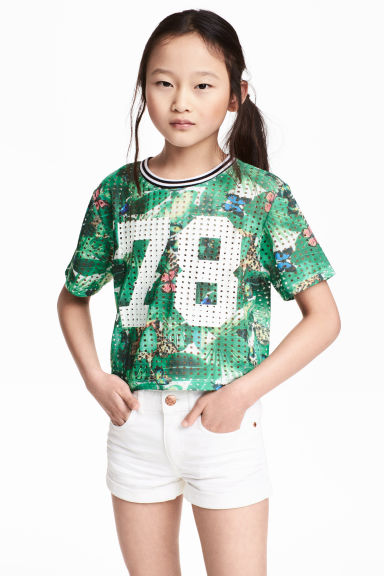 Printed mesh top - Green/Patterned -  | H&M CN