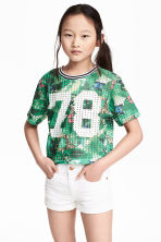 Printed mesh top - Green/Patterned -  | H&M CN 1