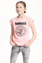 Printed jersey top - Light pink/Ramones - Kids | H&M CN 1