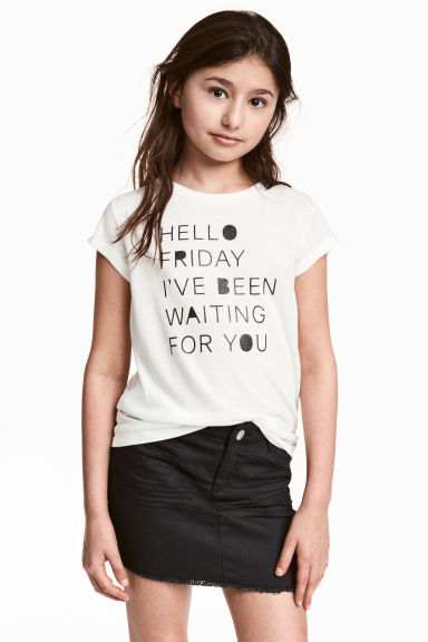 Printed top - White -  | H&M CN