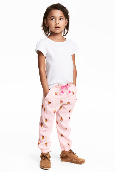 Patterned pull-on trousers - Light pink - Kids | H&M CN 1