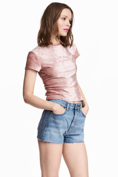 Crushed velvet top - Pink - Ladies | H&M 1