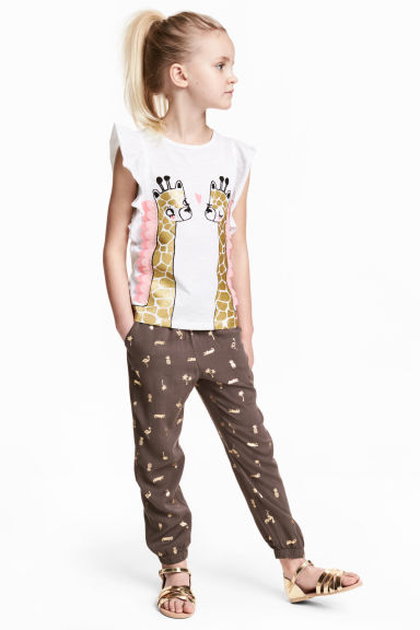 Patterned pull-on trousers - Mole/Palms - Kids | H&M 1