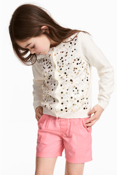 Cardigan with sequins - Natural white/Gold - Kids | H&M 1