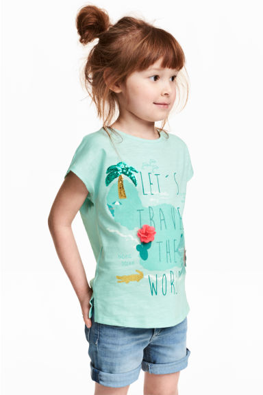 Slub jersey top - Mint green - Kids | H&M CN 1