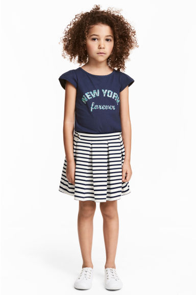 Pleated jersey skirt - White/Dark blue/Striped -  | H&M CA 1