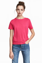 Cotton-blend T-shirt - Cerise - Ladies | H&M 1