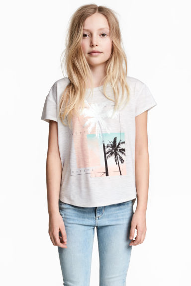 Short-sleeved printed top - Light grey/Palms -  | H&M 1