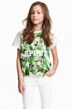 Printed top - Light grey marl -  | H&M 1