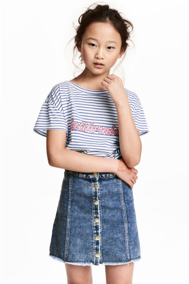 Short-sleeved printed top - Blue/White/Striped - Kids | H&M 1