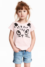 Printed top - Light pink - Kids | H&M 1