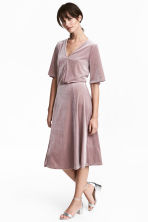 V-neck velour dress - Light heather - Ladies | H&M CN 1