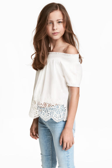 Cotton lace top - White -  | H&M CN 1