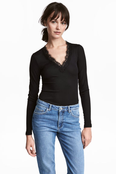 V-neck top - Black -  | H&M CN