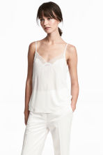 Jersey strappy top with lace - White -  | H&M CN 1