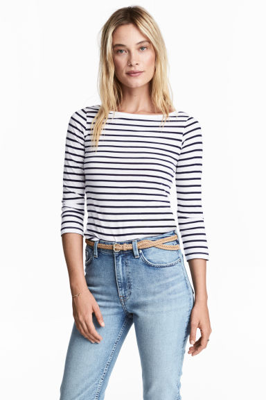 Jersey top - Dark blue/Striped - Ladies | H&M