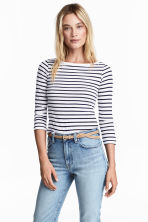 平紋上衣 - Dark blue/Striped - Ladies | H&M 1