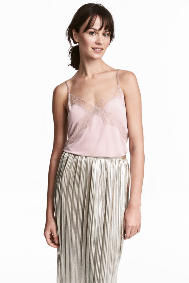 Jersey strappy top with lace - Light heather - Ladies | H&M