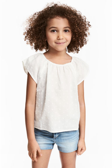 Blouse with butterfly sleeves - White - Kids | H&M CN 1