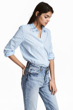 Cotton shirt - Light blue/Stripe - Ladies | H&M 1