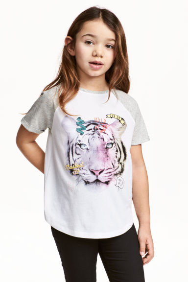Printed top - White/Tiger -  | H&M