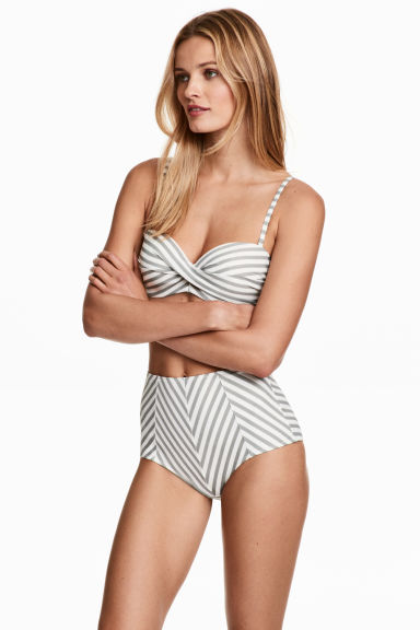 Bikini bottoms - White/Grey striped -  | H&M