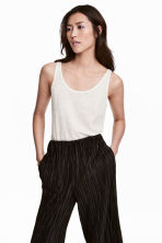 Linen-jersey strappy top - White -  | H&M CA 1