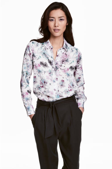 Long-sleeved blouse - White/Floral - Ladies | H&M CN 1