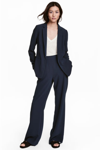 Wide suit trousers - Dark blue -  | H&M CN 1